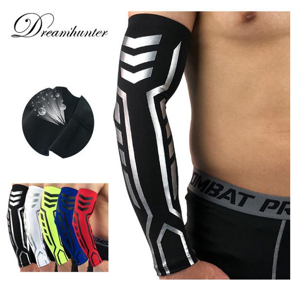 Elastische Compressie Arm Mouwen Badminton Basketbal Voor Zon Armstulpen Cover Sneldrogende Armkappen Fietsen Mouwen