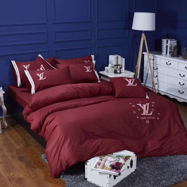 Burgundy Embroidery Brand Bedding Suit L Letter Logo Fashion Bed Cover 4PCS Flower Design Queen King Size Bedding Sets