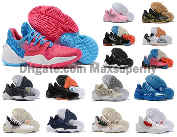2019 Nueva Llegada Hombres James Harden 4 Vol. 4 4S IV MVP BHM Zapatos de baloncesto negros para niños Zapatillas de deporte para entrenamiento al aire libre Tamaño US 7-12