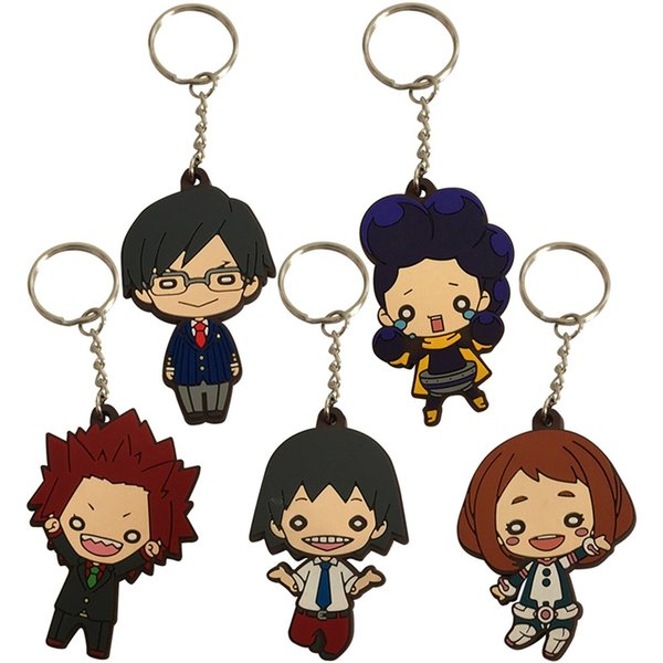 New Cartoon Rubber My Hero Academia Keychain Fashion Trendy Men Women Key Chain Cute Figure Pattern Unisex Key Chains Crafts