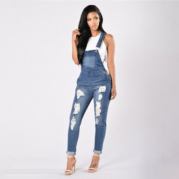 New Women's Casual Regular Denim Overall Strap Pants Sling Jeans Jumpsuits Trousers Washed Casual Hole Jumpsuits Romper Jeans