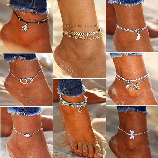 top popular New New Women 1Pc Different Shape Fashion Beach Barefoot Ankle Jewelry Chain Anklet Fashion New Women Anklets 2019