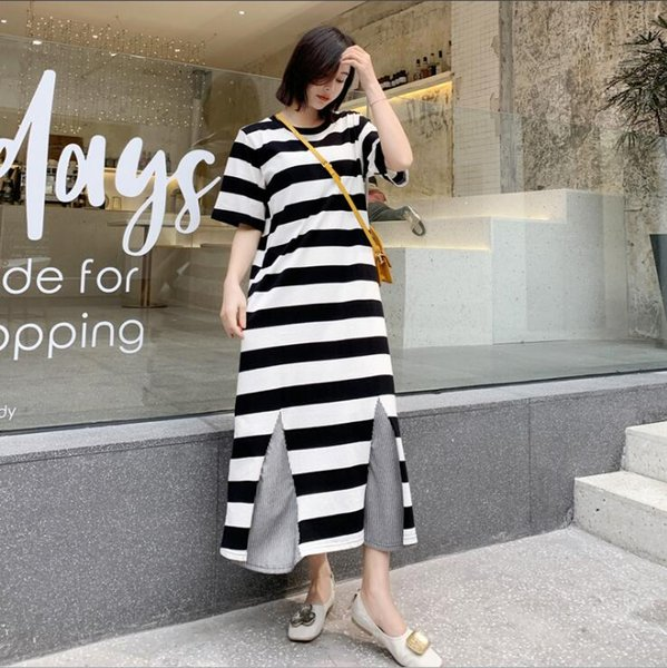2019 Chegam Novas de Verão Vestido de Maternidade Mulher Listrada A Linha de Vestidos Tamanho Grande Roupas de Mulher Grávida MD-01435