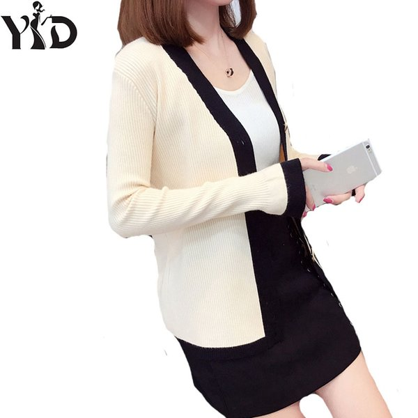 Autumn outfit new female conventional type of brass buckle v-neck sweater knit cardigan female elastic cultivate one's morality