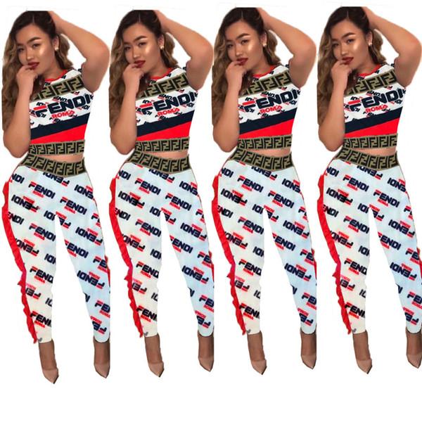 Recortar letras F Mujeres chándal de encaje ondulado camisetas Pantalones Legging Tight 2 piezas Conjunto mantiene a raya la marca de moda de Sportwear Club de equipos del partido C5803