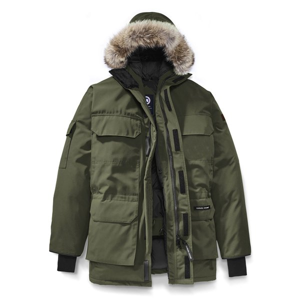 Top Canada winter Warm down jacket mens designer outdoor coats hooded thick windproof expedition parkas jackets Army Green