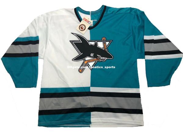 Men's Customize Vintage Rare San Jose Sharks Home Away Split Color CCM Jersey Stitched Any Name Any Number Size XS-5XL NHL Hocke Jersey