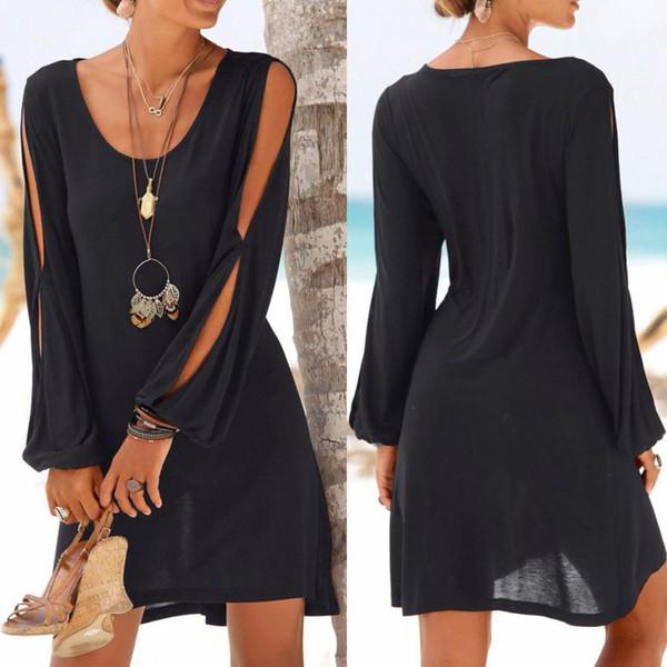 Ladies Summer Dress 2019 New Fashion Dress Donna Casual O-Collo Hollow Solid Color Beach Wind Mini Dress Poliestere Eleganti abiti firmati