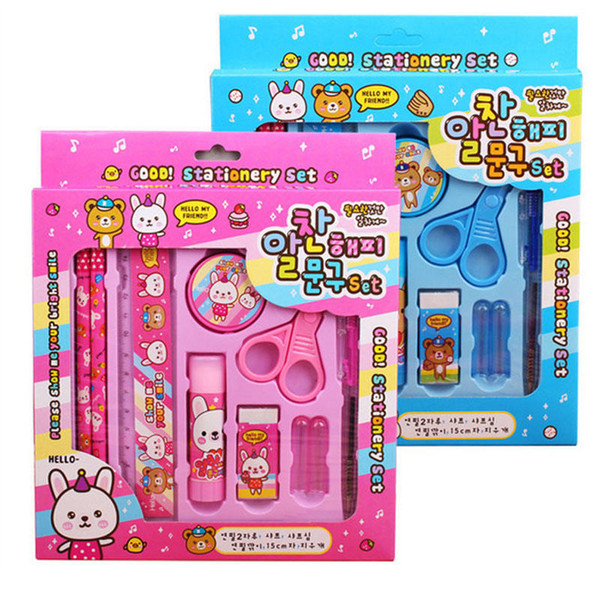 Kids Stationery Set di matite Creative Back To School Forniture per studenti Gift Box Gift Prize Bear Bunny Temperamatite Eraser Gift Set 57
