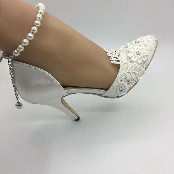 Beyaz Dantel El Yapımı Düğün Ayakkabı Yüksek Topuk Inci Kristaller Gelin Aksesuarları Gelin Ayakkabıları 2019 Bahar Ucuz Nedime Ayakkabı