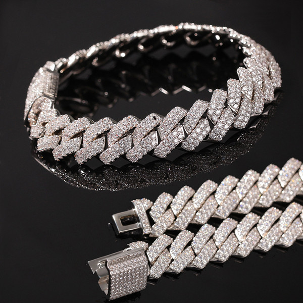 top popular New Arrival personalized Gold Bling Diamond Mens Cuban Link Chain Bracelet Iced Out Cubic Zirconia Curb Wristband Chains Jewelry For Guys 2021