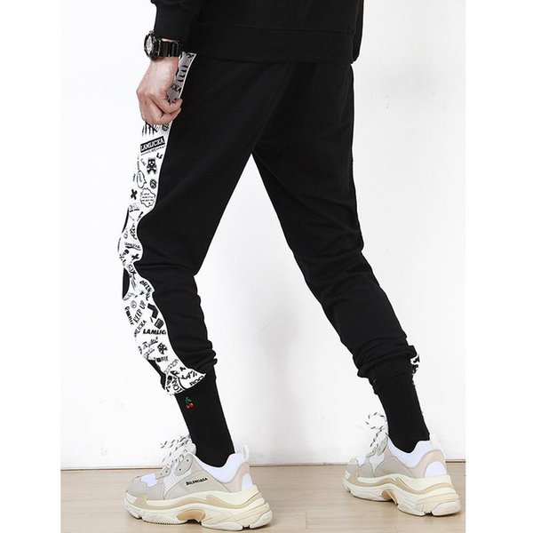 men black The letter printing Joining together Motion pants streetwear leisure fashion outdoor Loose type trend Little feet trousers