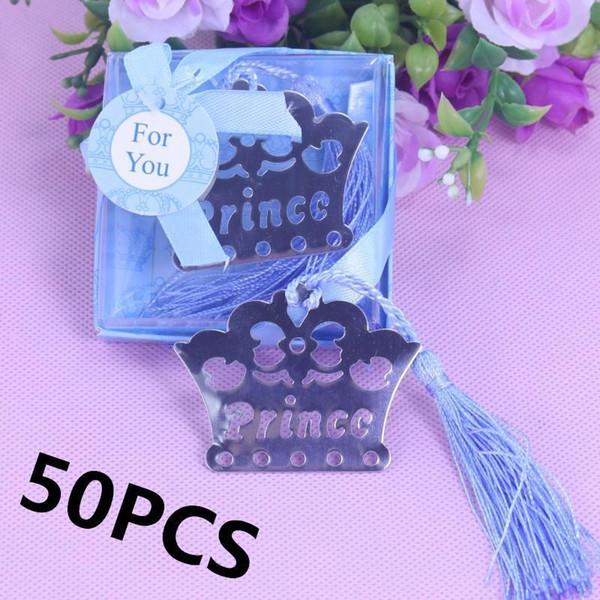 50pcs accueil parti cadeau faveur prince couronne argent signet baby shower cadeaux de mariage pour les invités anniversaire graduation cadeau T8190617