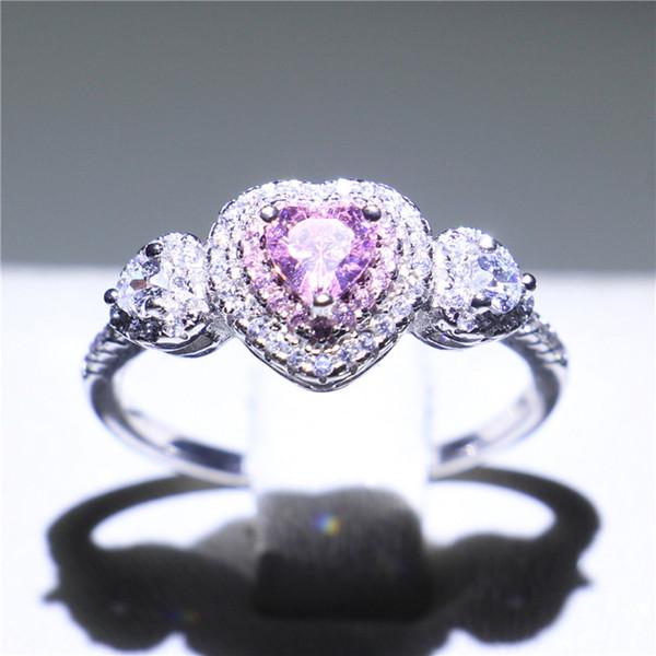 Best4UU Women Handmade Three-stone Jewelry Ring Romantic Heart Cutting Pink Sapphire CZ Real 925 Sterling Silver Wedding Ring Women Size 5-9