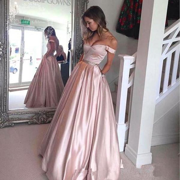 2019 Yeni Kapalı Omuz Balo İnci Pembe Uzun Abiye Gül Saten Altın Balo Elbise ile Cep Örgün Törenlerinde vestidos de novia