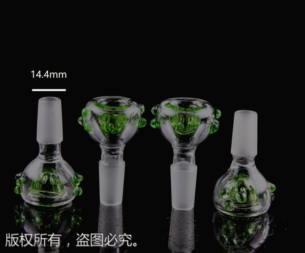 top popular QBsomk Glass Bowls with Screw Honeycomb Screen Round Green Blue bowl piece Female Male 14mm 18mm Joint Smoking Accessories For Bong Water 2019