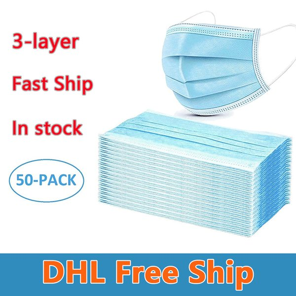 dhl disposable mask 3-layer face mask protection and personal health mask with earloop mouth face sanitary masks in stock