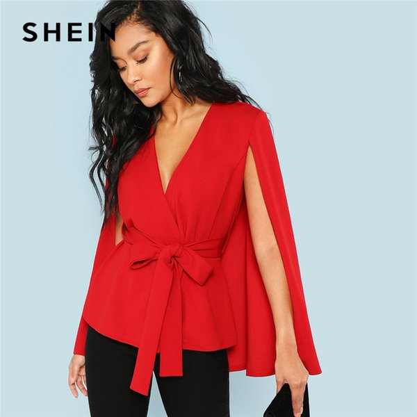 03fdb31a35 Shein Red Elegant Office Lady Open Placket Deep V Neck Cloak Sleeve Solid  Blazer 2018 Autumn