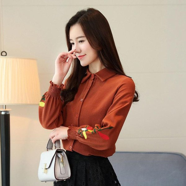 Women's Autumn Embroidery Tops 2019 Long Sleeve Female Blouses Work Wear Corduroy Shirts Elegant Office Blusa Mujer Camisas
