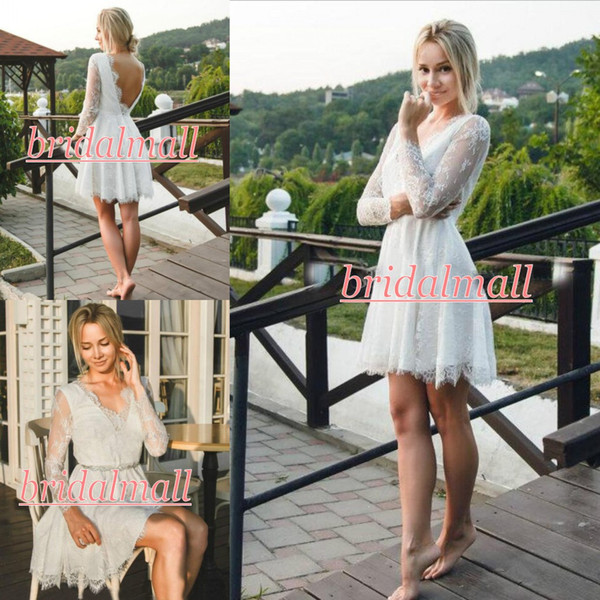 Discount Robe De Mariage 2019 White Appliqued Lace Short Wedding Dresses With Long Sleeve Boho Garden Bridal Gowns Backless Informal Reception Dress
