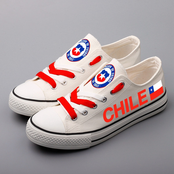 Chileans Print White Casual Canvas Shoes Custom Chile National Flag Graffiti Adults Walking Shoes Low Top Men Espadrilles Sapato