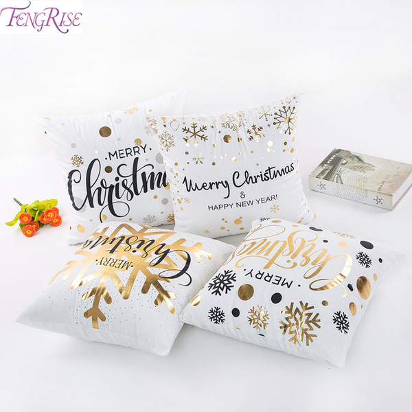 FENGRISE Christmas Pillow Case Merry Christmas Decoration for Home Ornaments Deer Santa Claus Happy New Year 2019