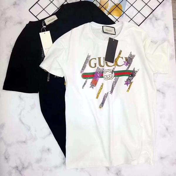 2019 verano nuevo diseñador italiano marca hombres y mujeres camiseta de lujo bordado lentejuelas lluvia de meteoros moda camisetas camiseta de alta calidad