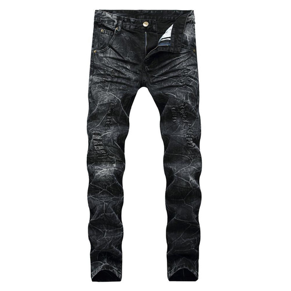 Men Distressed Ripped Jeans Fashion Designer Straight Motorcycle Biker Jeans Fation Denim Pants Streetwear Style Jeans Cool Size 28-40