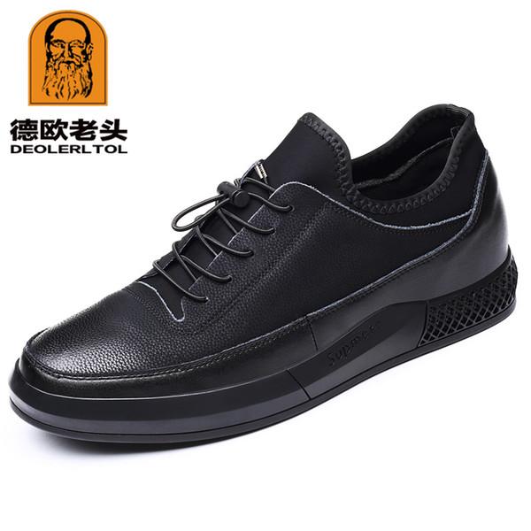 2019 мужская корова кожаная обувь Мода Высота увеличение кожа черный Повседневная обувь 37-43 Сплит человек