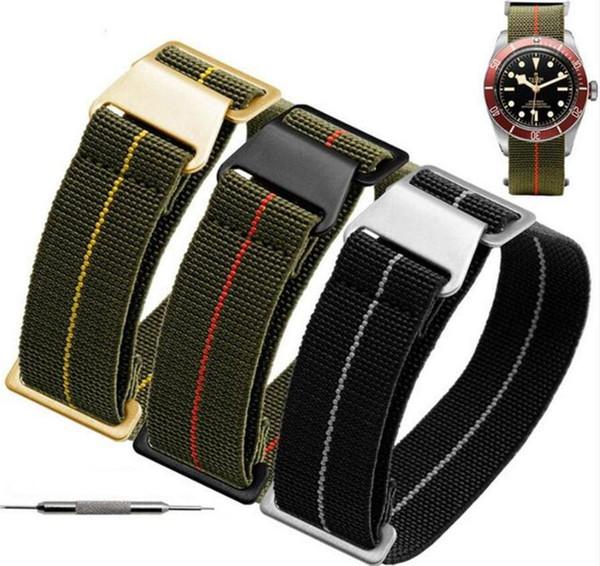 1pcs 20mm 21mm 22mm troupes françaises Sac en parachute pour l'OTAN Nylon élastique Ceinture générale Marques Wacthband Bracelet Band Bracelet militaire