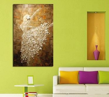 Bonitos bailarines de ballet, artesanías, pintura al óleo con arte abstracto moderno, decoración de la pared del hogar en lienzo de alta calidad.