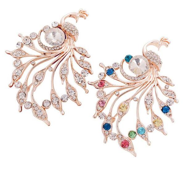 2019 Nueva moda Mujer Pavo Real Crystal Rhinestone BroochPins Vintage Bufanda encantadora Clip Broches para Mujeres Broche