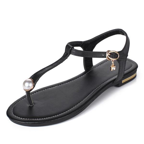 New 2019 Summer Flat Heel Women Sandals Genuine Leather Flip Flops Women Shoes Gladiator Casual Flat Sandal Woman white Black