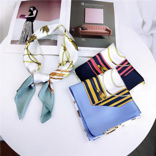 Fashion Square Scarf Neckerchief Hair For Women Geometric Print Silk Satin Hijab 70*70Cm Small Headband Scarves For Ladies