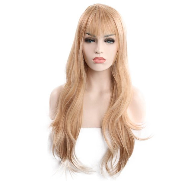 new arrival fashion gold Long Wavy wig 65 cm Synthetic Hair Wigs