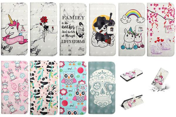 Crânio 3D Caso Carteira De Couro Para Samsung Nota 10 Note10 Pro A10E A20E Rosa Unicórnio Panda Swan Rainbow Coração Amor Titular Mármore Virar Capa