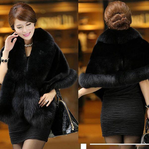 Elegante di lusso caldo del Faux delle donne visone inverno del cachemire cappotto di pelliccia dello scialle del Capo Moda Solid signore Faux Fur Poncho