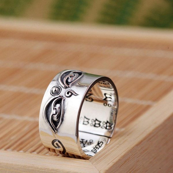 whole saleFNJ 925 Silver Buddha Ring Good Luck Original Pure S925 Sterling Thai Silver Rings for Men Women Jewelry Girl Adjustable Size