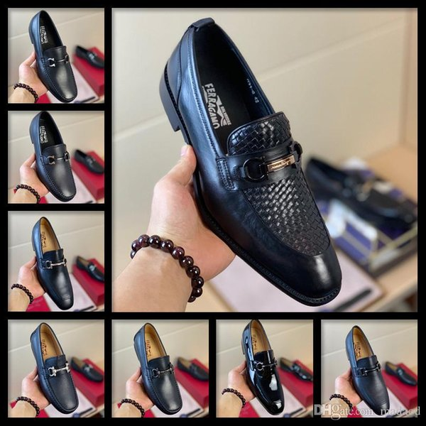 19 ss MARCA DE DISEÑADORES zapatos de cuero ocasionales de estilo clásico de camisas de vestir de negocios formal de Brown ata para arriba Zapatos de hombres Zapatos estilo Oxford KKKKK