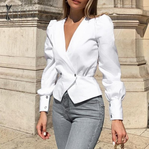 Nlw White Long Sleeve Autumn Blouses Tops Women 2019 Elegant Ol Peplum Blouse Shirts Vintage V Neck Office Blouses Blusa SH190718