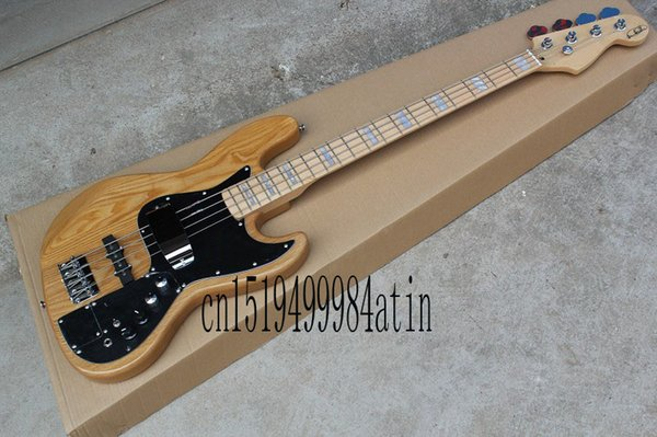 Free shopping factory custom jazz natural wood Sunburst 4 strings electric bass guitar with 9 V Battery active pickups