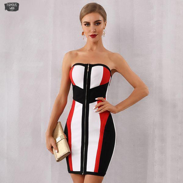 Vestidos Bodycon Verband-Kleid-Frauen Verano 2019 neue Sommer-trägerlose Midi-Club trägerloses Kleid Runway Promi-Abend-Partei-Kleid