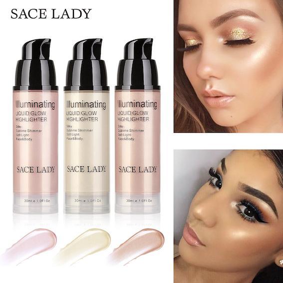Private Label High Gloss Lightening 30ML Face Lip Body Professional Liquid Highlighter Shimmer Bronzer Illuminator Makeup Base Gel Glow Tint