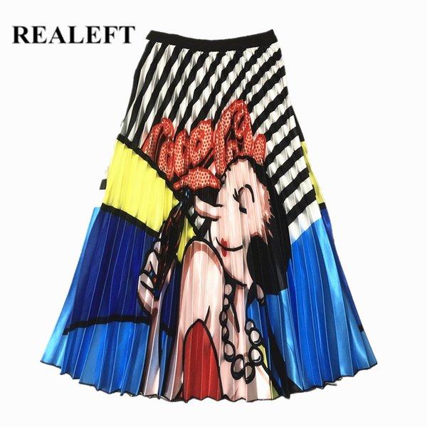 Realeft nuovo arrivo donne della molla del fumetto stampato elegante pieghe gonne lunghe a vita alta Harajuku Tulle A-line a metà polpaccio gonne Y19043002