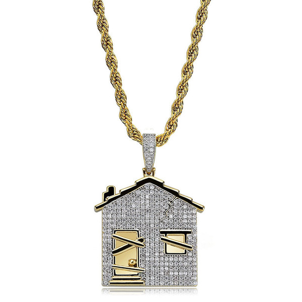 House Pendant Necklace 18K Gold Plated Copper Inlaid Cubic Zirconia House Pendant 60cm Chain Unisex Accessories Hip Hop Jewelry