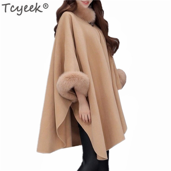 tcyeek 2018 spring autumn womens wool coat new fashion long woolen coat female elegant cloak jacket sweet fashion clothes lwl691