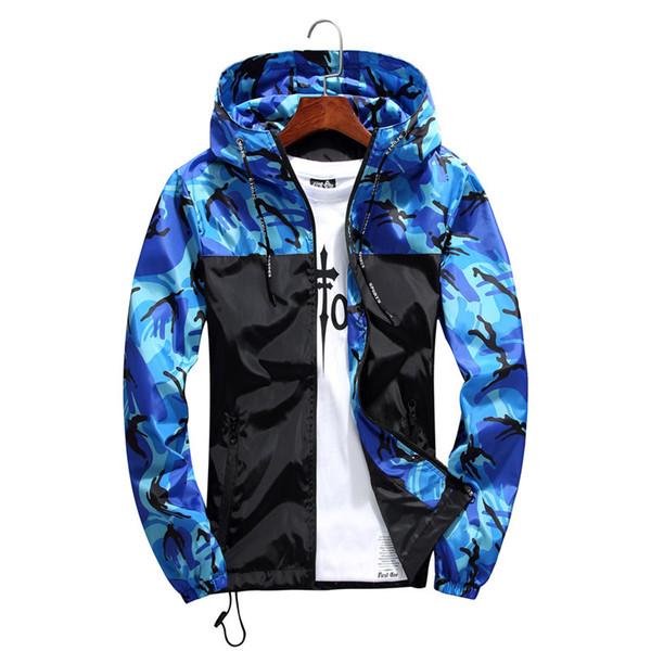 Homens Jaqueta Bomber Fino Magro Manga Longa Camuflagem Casacos Com Capuz 2019Windbreaker Zipper Outwear Splicing casaco Roupas