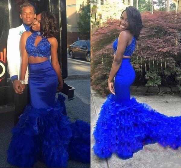 Azul Royal Duas Peças Sereia Vestidos de Baile Sul Africano Frisada Lantejoulas Top Keyhole Pescoço Sweep Train Evening Pageant Vestidos