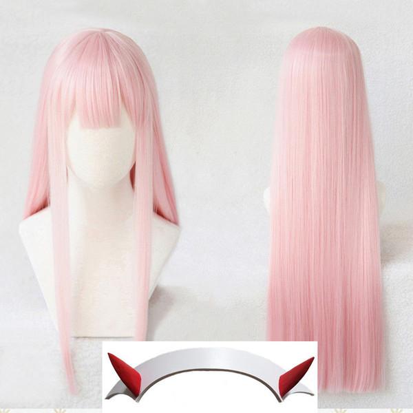 DARLING dans la perruque de cheveux Cosplay de Long Straight Pink de FRANXX Strelizia 02 ZERO TWO