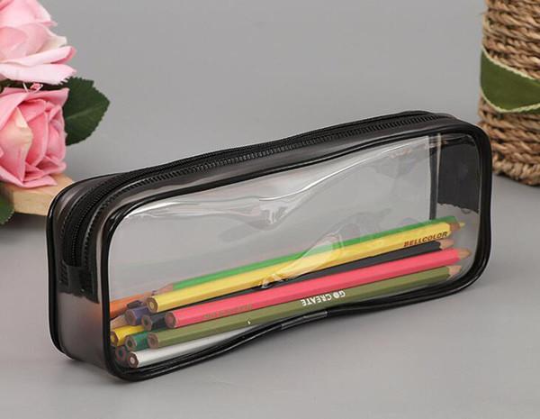 200 pcs Saco de PVC Saco de Zíper Estudantes Da Escola Bolsa Clara Transparente À Prova D 'Água De Plástico PVC Caixa De Armazenamento Caneta Caso Mini Sacos de Maquiagem de Viagem